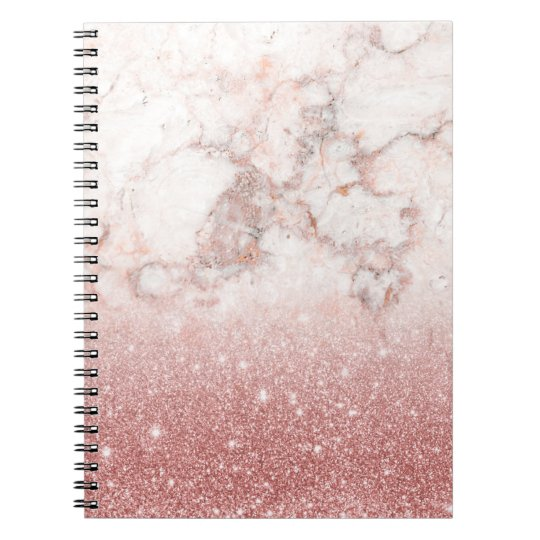 Elegant Faux Rose Gold Glitter White Marble Ombre Notebook