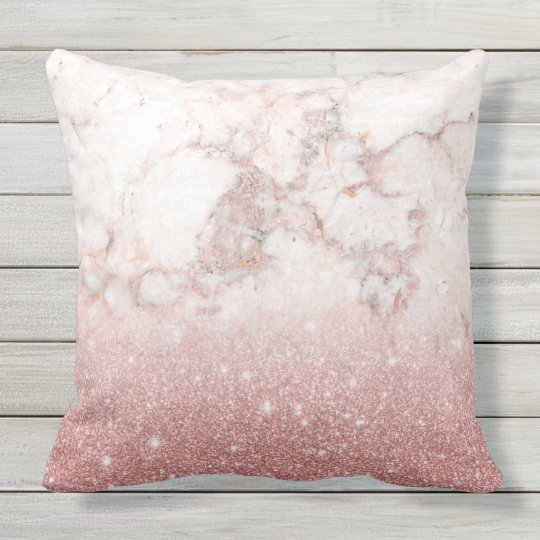 Elegant Faux Rose Gold Glitter White Marble Ombre Outdoor Cushion