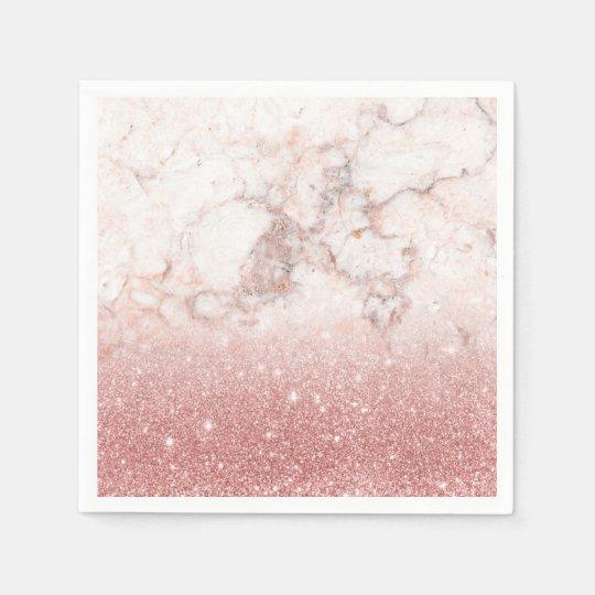 Elegant Faux Rose Gold Glitter White Marble Ombre Paper Napkin