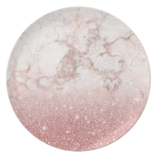 Elegant Faux Rose Gold Glitter White Marble Ombre Party Plates