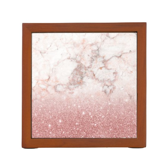 Elegant Faux Rose Gold Glitter White Marble Ombre Pencil/Pen Holder