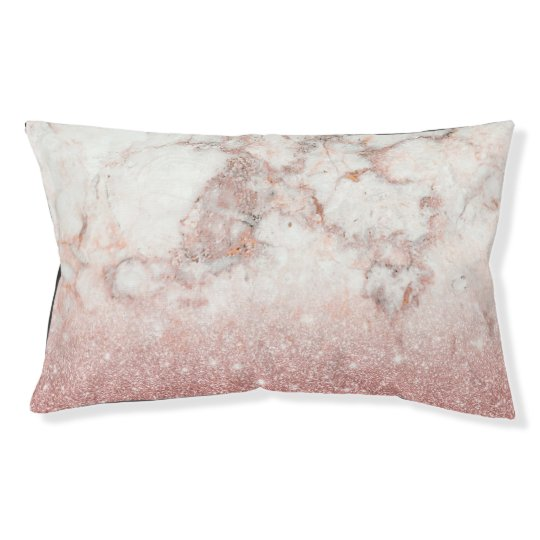 Elegant Faux Rose Gold Glitter White Marble Ombre Pet Bed