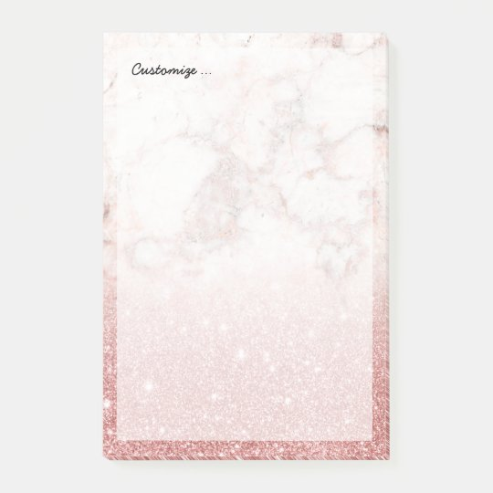Elegant Faux Rose Gold Glitter White Marble Ombre Post-it® Notes