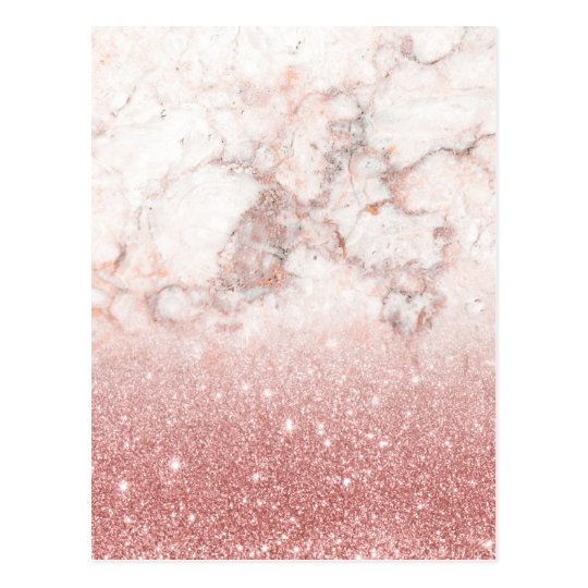 Elegant Faux Rose Gold Glitter White Marble Ombre Postcard