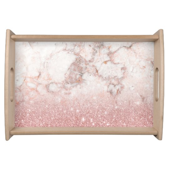 Elegant Faux Rose Gold Glitter White Marble Ombre Serving Trays