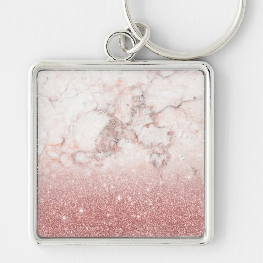 Elegant Faux Rose Gold Glitter White Marble Ombre Silver-Colored Square Key Ring