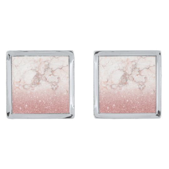 Elegant Faux Rose Gold Glitter White Marble Ombre Silver Finish Cufflinks