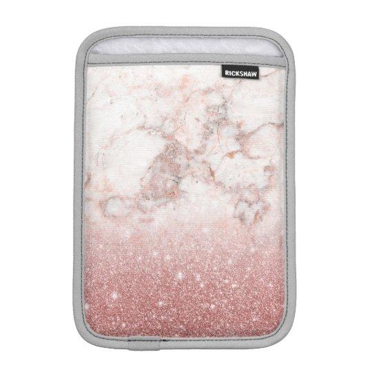 Elegant Faux Rose Gold Glitter White Marble Ombre Sleeve For iPad Mini