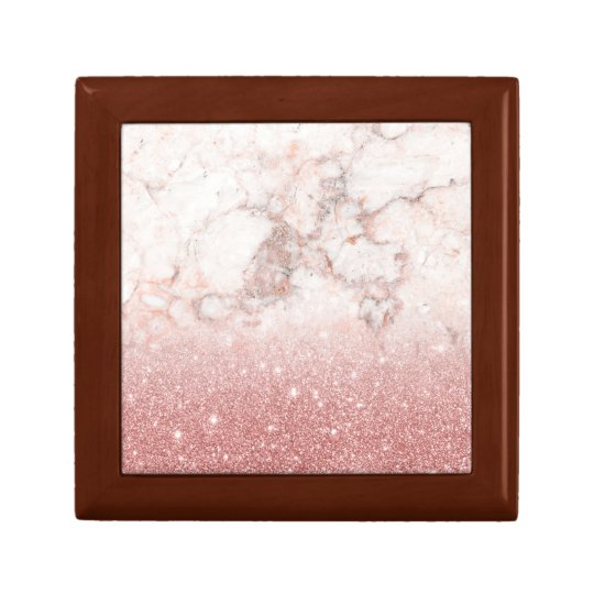 Elegant Faux Rose Gold Glitter White Marble Ombre Small Square Gift Box