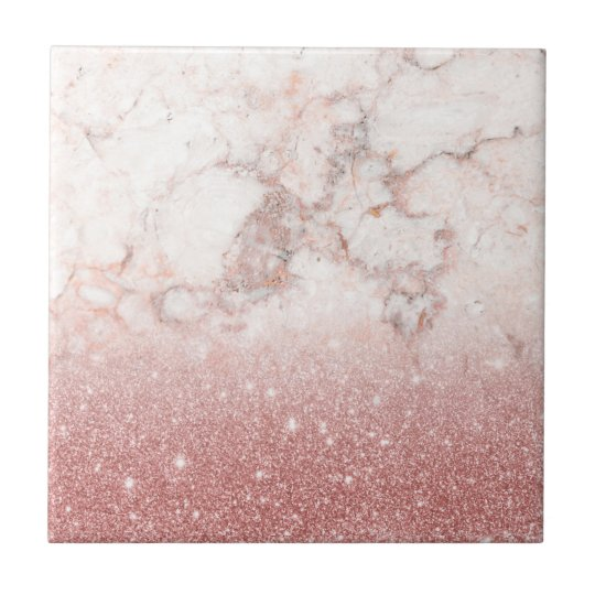 Elegant Faux Rose Gold Glitter White Marble Ombre Small Square Tile