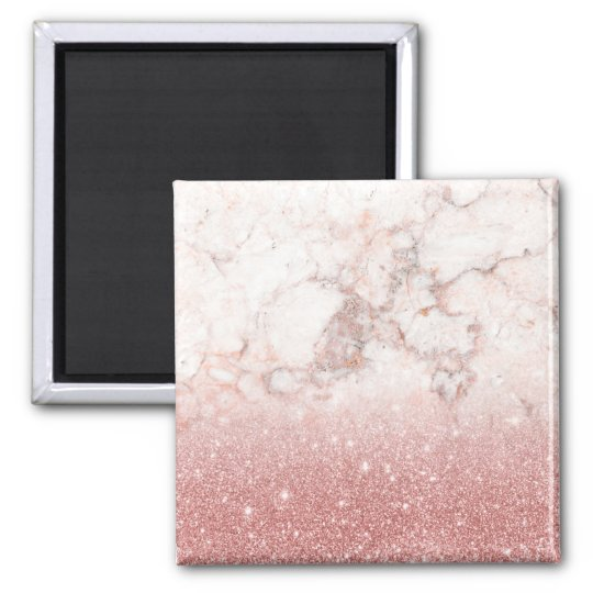 Elegant Faux Rose Gold Glitter White Marble Ombre Square Magnet