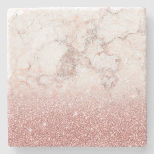 Elegant Faux Rose Gold Glitter White Marble Ombre Stone Coaster