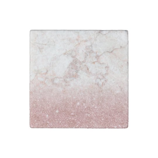 Elegant Faux Rose Gold Glitter White Marble Ombre Stone Magnet