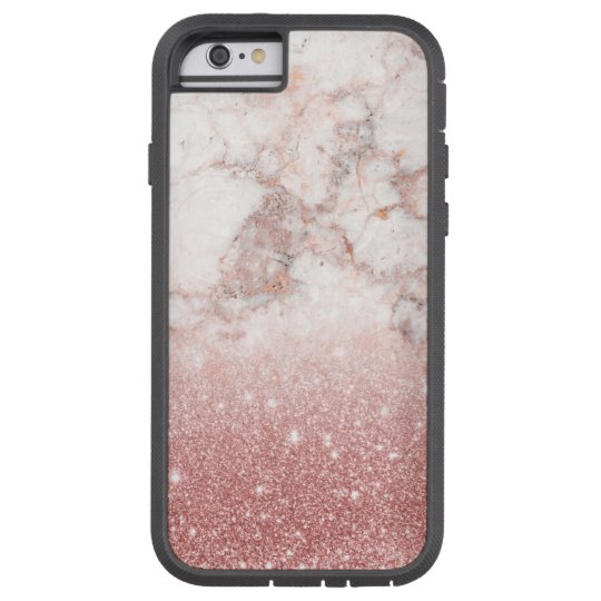 Elegant Faux Rose Gold Glitter White Marble Ombre Tough Xtreme iPhone 6 Case