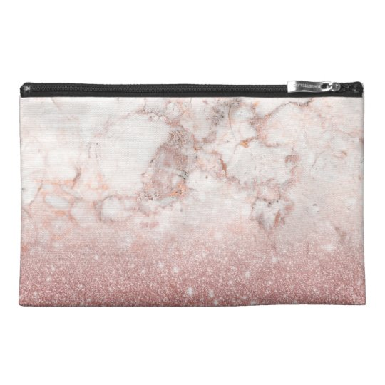 Elegant Faux Rose Gold Glitter White Marble Ombre Travel Accessory Bags