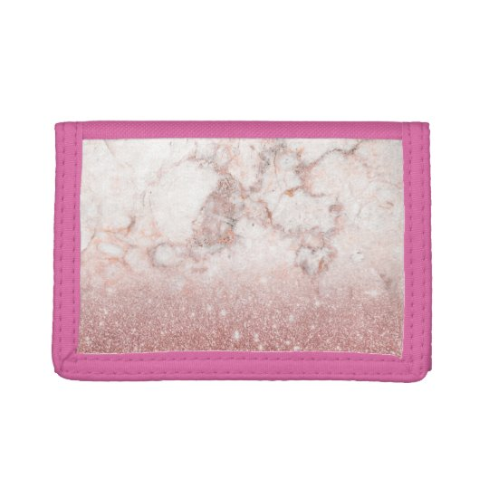 Elegant Faux Rose Gold Glitter White Marble Ombre Trifold Wallet