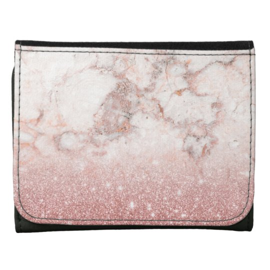 Elegant Faux Rose Gold Glitter White Marble Ombre Wallets