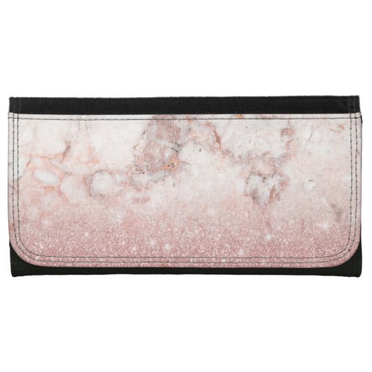 Elegant Faux Rose Gold Glitter White Marble Ombre Wallets For Women