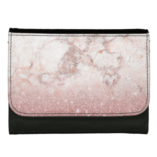 Elegant Faux Rose Gold Glitter White Marble Ombre Women's Wallets