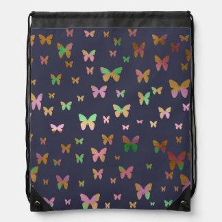 elegant faux rose gold gold butterfly pattern drawstring bag