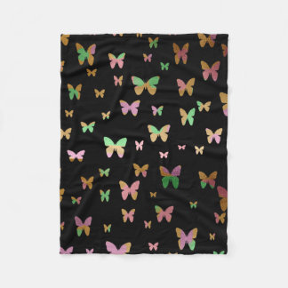 elegant faux rose gold gold butterfly pattern fleece blanket