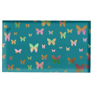 elegant faux rose gold gold butterfly pattern place card holder