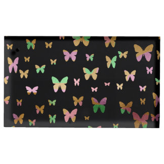 elegant faux rose gold gold butterfly pattern table card holder