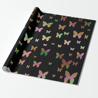 elegant faux rose gold gold butterfly pattern wrapping paper