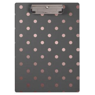 elegant faux rose gold grey polka dots clipboard