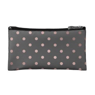 elegant faux rose gold grey polka dots cosmetics bags