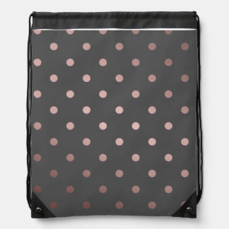 elegant faux rose gold grey polka dots drawstring bag