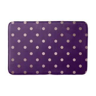 elegant faux rose gold purple polka dots bath mat