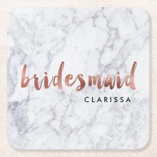 elegant faux rose gold white marble bridesmaid square paper coaster