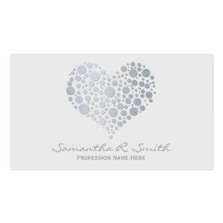Elegant Faux Silver Foil Heart Business Card
