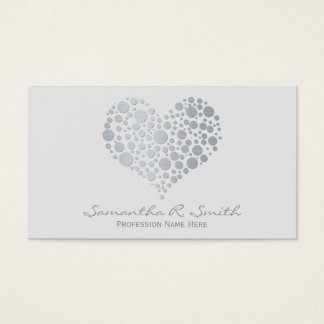 Elegant Faux Silver Foil Heart Business Card