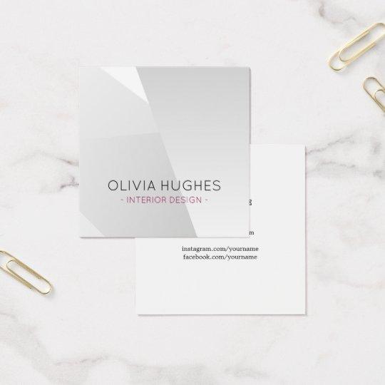 Elegant Faux Silver Geometric Interior Designer Square Business Card