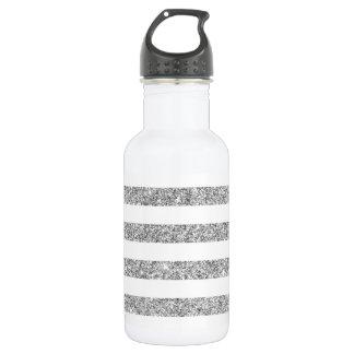 Elegant Faux Silver Glitter Stripe Pattern 532 Ml Water Bottle