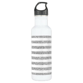 Elegant Faux Silver Glitter Stripe Pattern 710 Ml Water Bottle