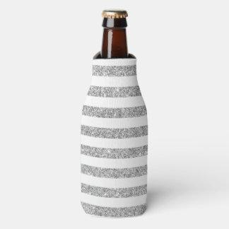 Elegant Faux Silver Glitter Stripe Pattern Bottle Cooler