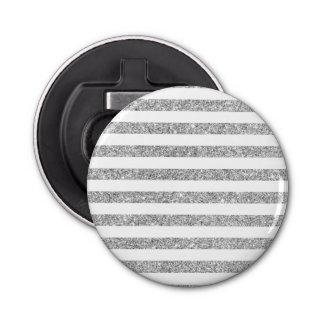 Elegant Faux Silver Glitter Stripe Pattern Bottle Opener