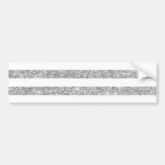 Elegant Faux Silver Glitter Stripe Pattern Bumper Sticker