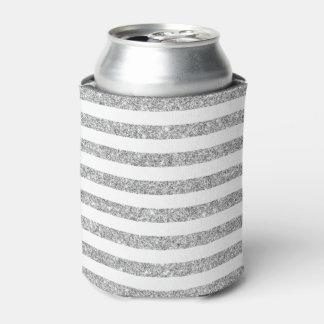Elegant Faux Silver Glitter Stripe Pattern Can Cooler
