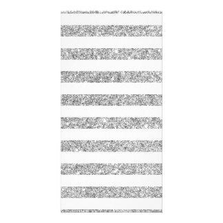 Elegant Faux Silver Glitter Stripe Pattern Card