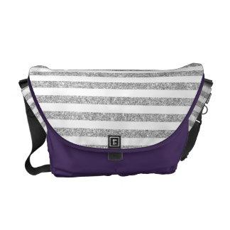 Elegant Faux Silver Glitter Stripe Pattern Commuter Bags