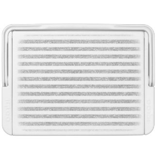 Elegant Faux Silver Glitter Stripe Pattern Cooler