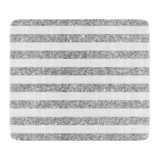 Elegant Faux Silver Glitter Stripe Pattern Cutting Board