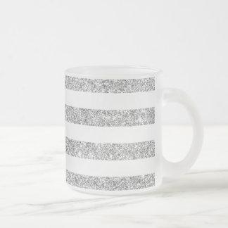 Elegant Faux Silver Glitter Stripe Pattern Frosted Glass Coffee Mug