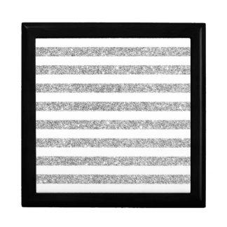 Elegant Faux Silver Glitter Stripe Pattern Gift Box