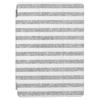 Elegant Faux Silver Glitter Stripe Pattern iPad Air Cover