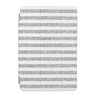 Elegant Faux Silver Glitter Stripe Pattern iPad Mini Cover